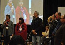 From left: Henriette Thompson, Bishop Lydia Mamakwa, Bishop Murray Chatlain, Bishop Mark MacDonald, Bishop Gary Gordon and Bishop Larry Robertson. Photo: M. Sison