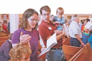 Morning worship at Shalom Justice Camp, St. John the Evangelist, Peterborough, Ont. Photo; Michael Hudson