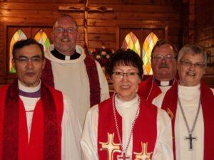 (L to R): Bishop Andrew Atagotaaluk, The Rev. David Lehmann, The Rev.Georgina Bassett, Bishop Larry Robertson and The Rev. Vivian Smith. Photo: Debra Gill
