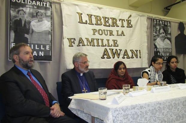 (L to R): Federal opposition leader Thomas Mulcair, Diocese of Montreal Bishop Barry Clarke, Khurshid Begum Awan, Khurshid Begum AwanFarha Najah Hussain, and Tahira Malik.