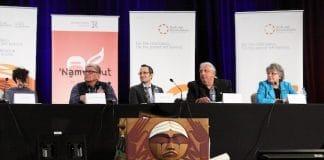 (L to R) Panelists Jessica Bolduc, Chief Robert Joseph, Todd Khozein, Robert (Bob) Watts and Mary Simon discuss ways to further reconciliation. Photo: Art Babych