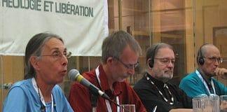 (L to R): World Forum on Theology and Liberation panelists Nicole O'Bomsawin, Jean-François Roussel, National Indigenous Anglican Bishop Mark MacDonald, Fr. Eleazar López Hernandez. Photo: Harvey Shepherd