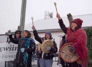 Drummers lead a rally against construction of the Coastal GasLink pipeline on Wet'suwet'en traditional territory. Photo: Unist'ot'en camp via Facebook