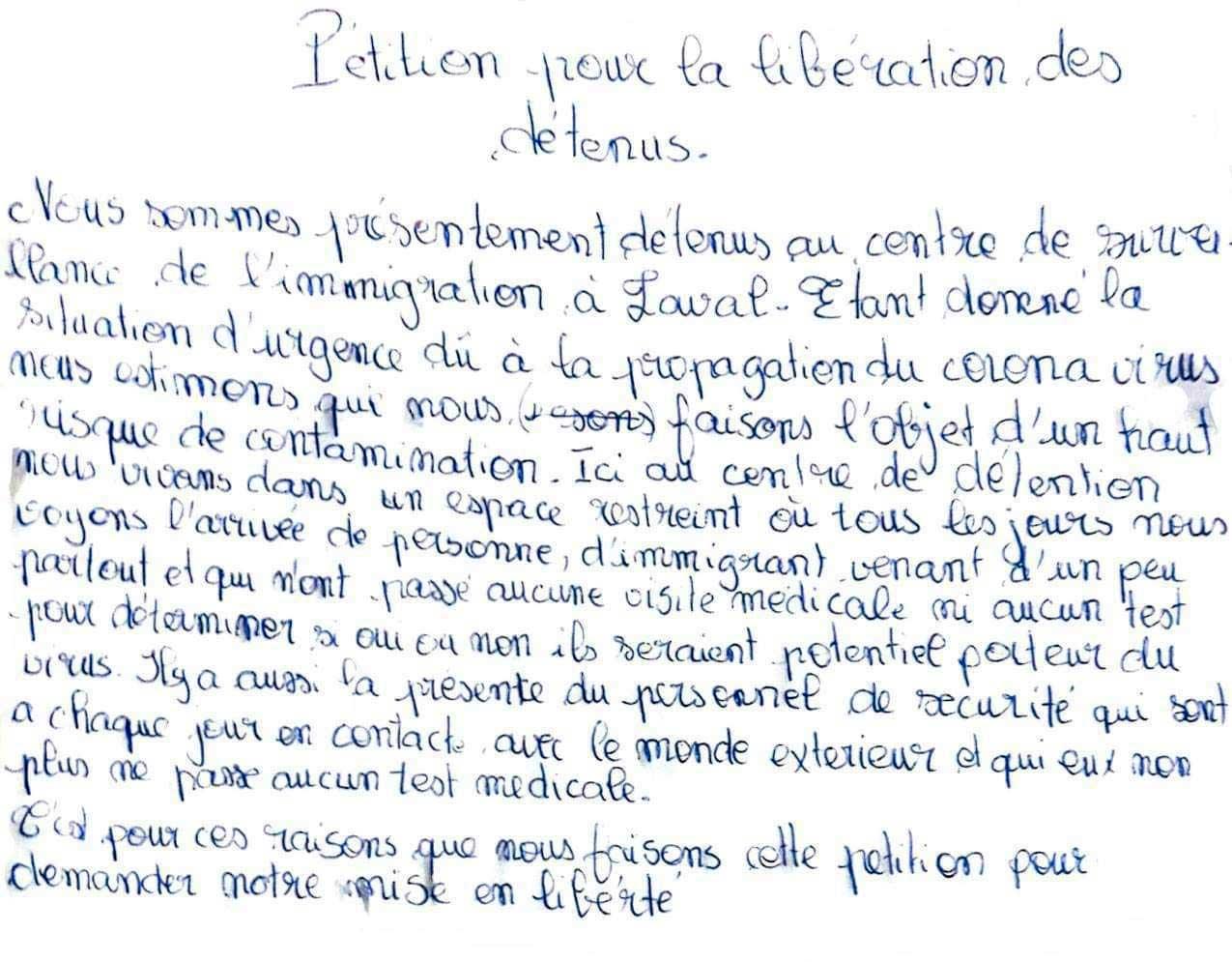 Laval detainees' letter